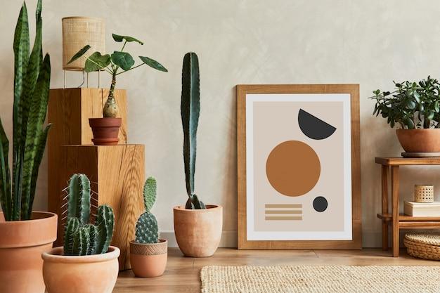 Kompozycja wnętrza salonu z kopiami roślin kosmicznych oraz kaktusów i akcesoriów boho szablon