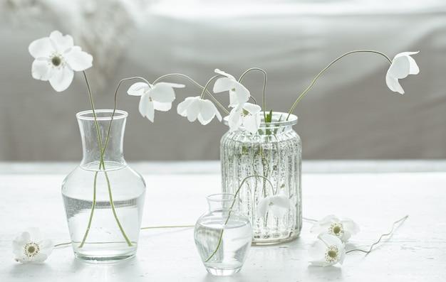 Kompozycja z delikatnymi wiosennymi kwiatami w szklanych wazonach