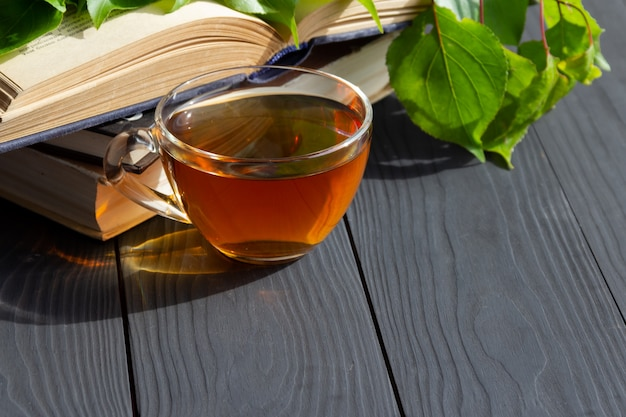Kompozycja z filiżanką herbaty, starymi otwartymi książkami i gałęzią z zielonymi liśćmi