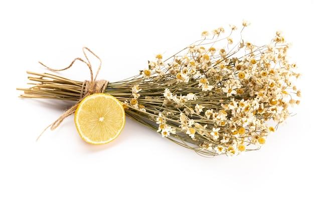 Kompozycja z kwiatów rumianku i domowego kosmetyku, olejku eterycznego, sopa, na białym tle, widok z góry.