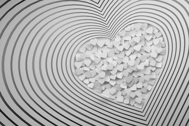 Kompozycja z wieloma powtarzającymi się kształtami białego serca z wypełnioną przestrzenią