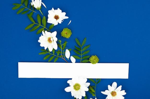 Kompozycja z wiosennych kwiatów. makieta karty papieru z miejsca kopiowania. rama wykonana z białych kwiatów na niebieskiej przestrzeni.
