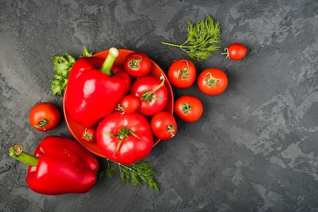 Kompozycja zdrowych warzyw płaskich