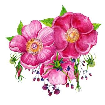 Kompozycje kwiatowe z kwiatami dzikiej róży