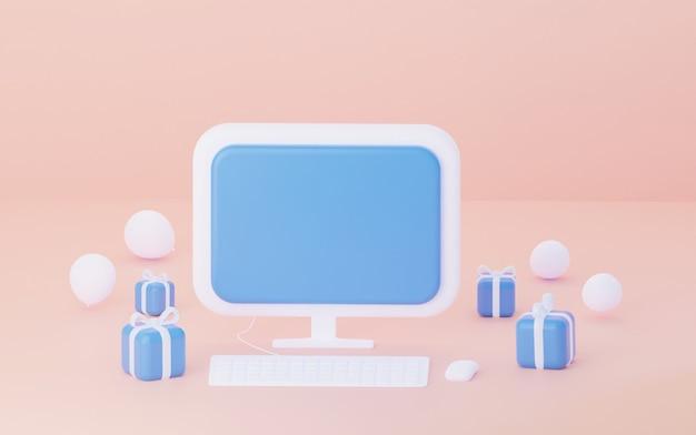 Komputer 3d z pustym ekranem na różowym tle z balonami i prezentami