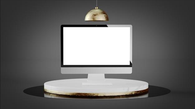 Komputer makiety na luksusowej marmurowej platformie renderowania 3d