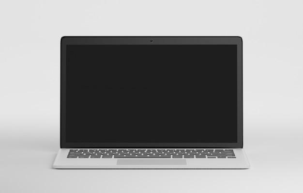 Komputer na białym tle w tle