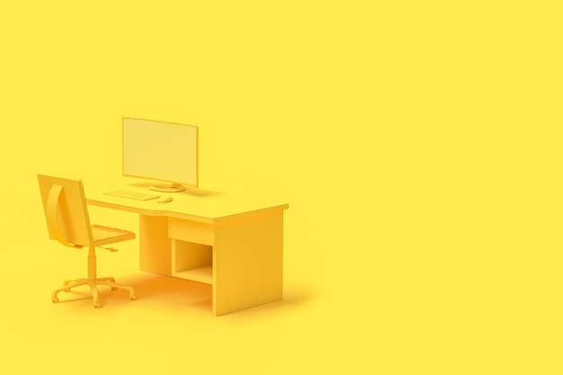 Komputer na stole i krześle