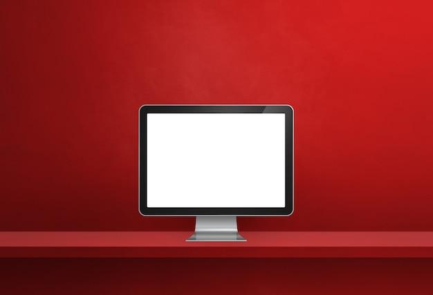 Komputer pc - czerwony baner półki ściennej. ilustracja 3d