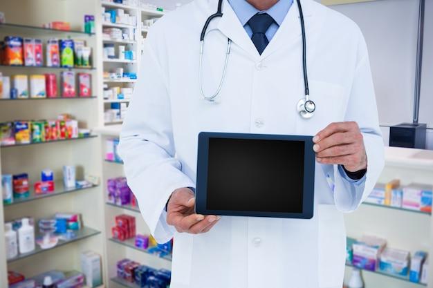 Komputer pokazuje apteki graficzny farmaceutyczne magazynowych