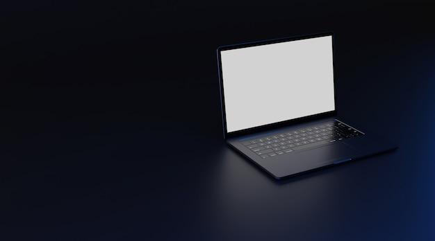 Komputer przenośny z białym ekranem. renderowanie 3d.