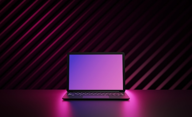 Komputer przenośny z oświetleniem rzędu różowym i miejscem na pustym ekranie na ciemnym tle. obraz 3d ilustracji.