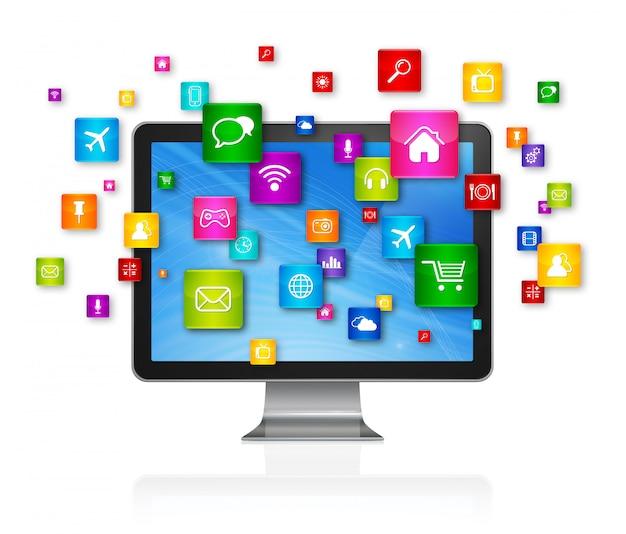 Komputer stacjonarny i latające ikony aplikacji