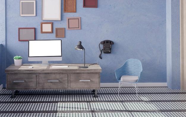 Komputer stacjonarny na stole w biurze makieta renderowania 3d. ilustracja 3d