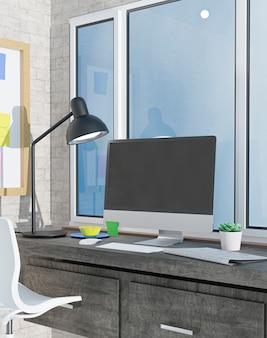 Komputer stacjonarny na stole w biurze