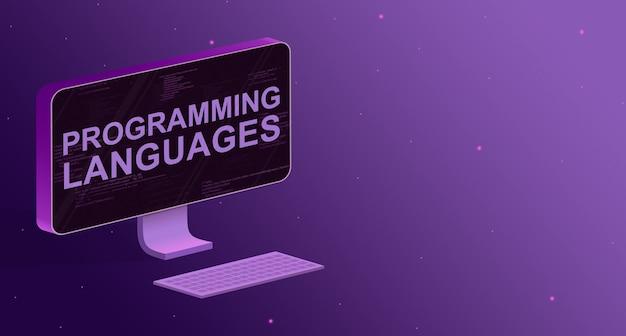 Komputer z elementami kodu programu na ekranie i napisami w językach programu