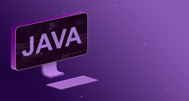 Komputer z elementami kodu programu na ekranie i napisem java oraz klawiaturą na fioletowym tle 3d