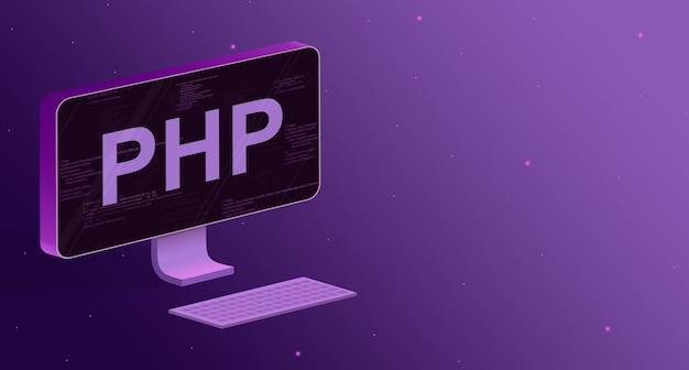 Komputer z elementami kodu programu na ekranie i napisem php oraz klawiaturą na fioletowym tle 3d