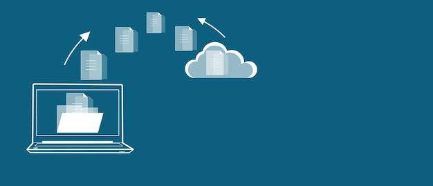 Komputer z ikoną chmury plików na niebieskim tle
