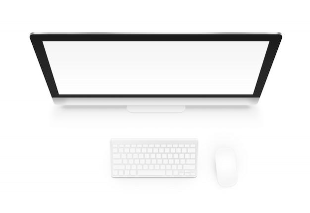 Komputer z klawiaturą i myszą od above odosobnionego
