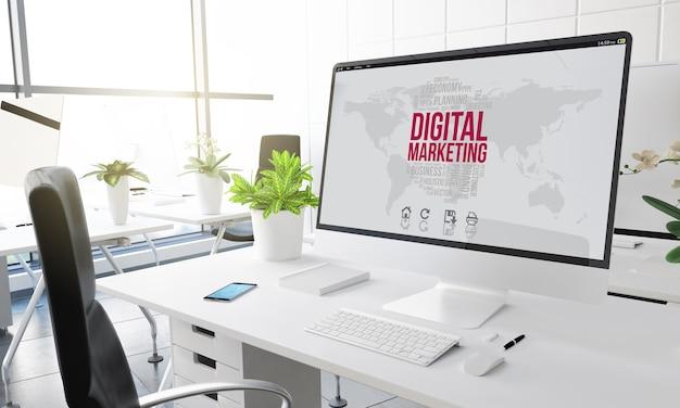 Komputer z marketingu cyfrowego w renderowaniu 3d w nowoczesnym biurze