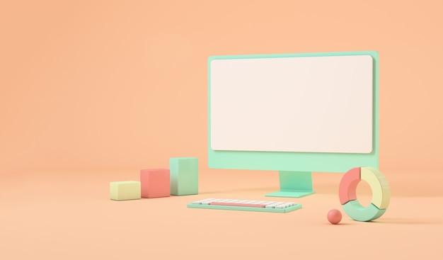 Komputer z miejscem na kopię, elementy graficzne dookoła. renderowanie 3d