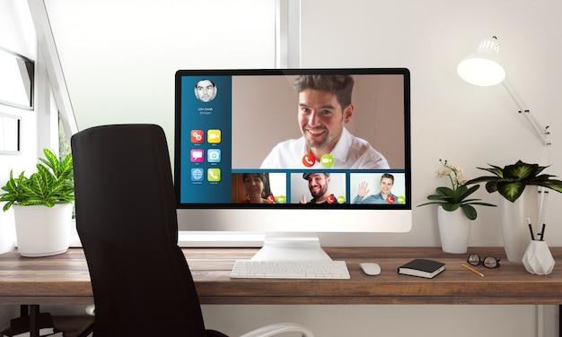 Komputer z wideokonferencją na stole renderowania 3d