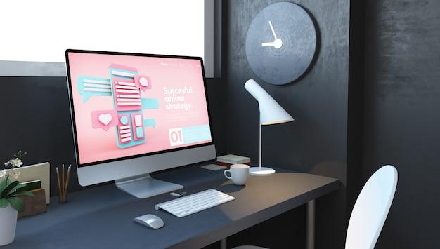 Komputer z witryną marketingową fonline na pulpicie w renderowaniu 3d pokoju marynarki wojennej