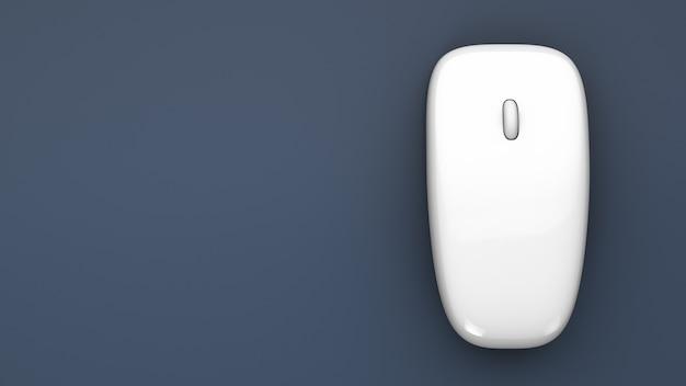 Komputerowa mysz bezprzewodowa na stole. widok z góry. skopiuj miejsce.