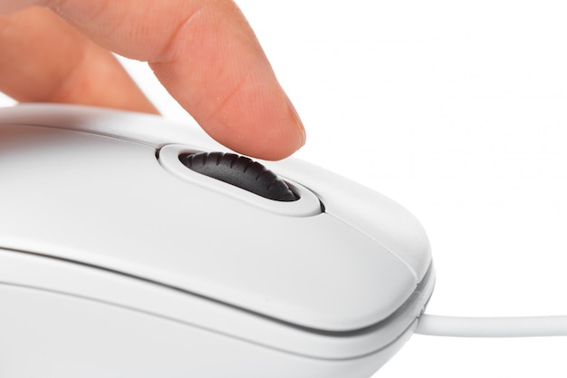 Komputerowa mysz i ręka odizolowywający