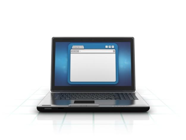 Komputerowy laptop z przeglądarką internetową