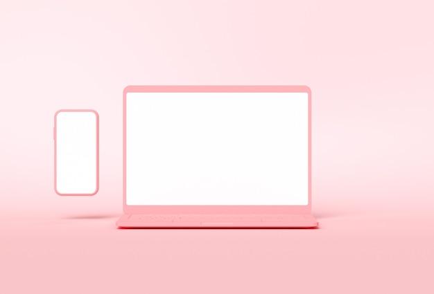Komputerowy notebook i smartfon z pustymi ekranami