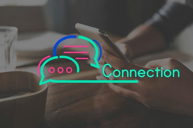 Komunikacyjny podłączeniowy mowa bąbla pojęcie