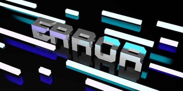 Komunikat o błędzie na czarnym tle i ilustracja laserowa światła neonowego 3d