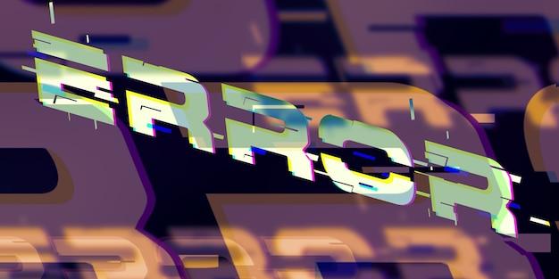 Komunikat o błędzie w stylu cyberpunk neonowa ilustracja 3d