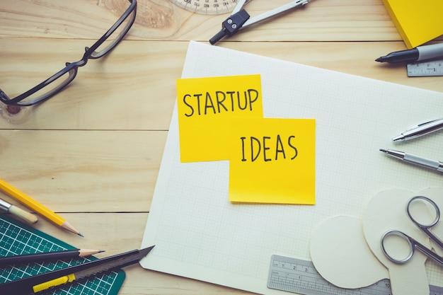 Komunikat o pomysłach na start na notatniku na stole roboczym z elementami narzędzi