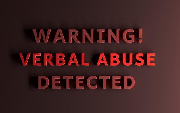 Komunikat ostrzegawczy napisany pogrubionymi czerwonymi słowami — wykryto ostrzeżenie słowne. ilustracja 3d.