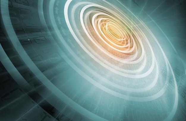 Koncentryczne koła rozwijające się od centrum do krawędzi technologii tle
