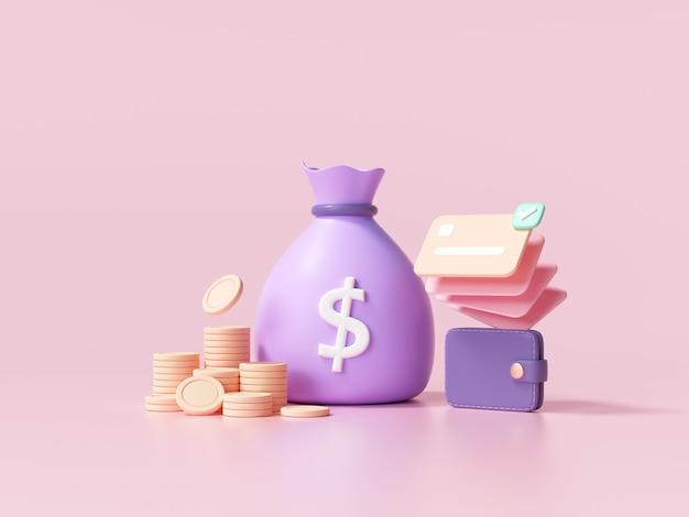 Koncepcja 3d pieniędzy. worek pieniędzy, stos monet i portfel na karty kredytowe. ilustracja renderowania 3d