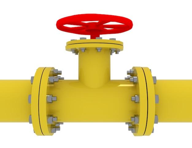 Koncepcja 3d rury gazowej. ilustracja na białym tle