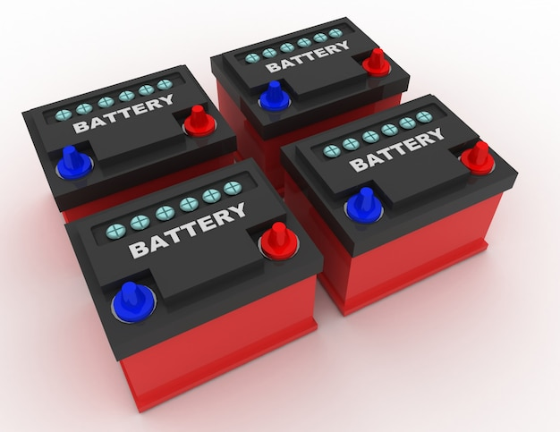 Koncepcja akumulatora samochodowego. 3d renderowana ilustracja