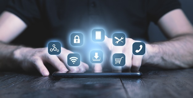 Koncepcja aplikacji. biznes, internet, technologia