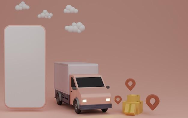 Koncepcja aplikacji usługi dostawy online, furgonetka dostawcza i telefon komórkowy z pinem w domu. renderowanie 3d
