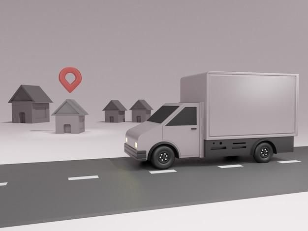 Koncepcja aplikacji usługi dostawy online i samochód dostawczy z mapą