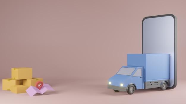 Koncepcja aplikacji usługi dostawy online, samochód dostawczy i telefon komórkowy z mapą. 3d