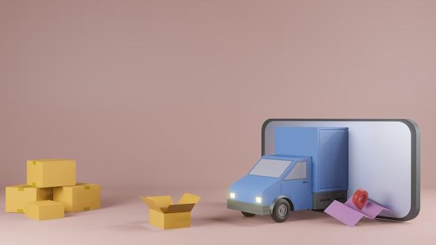 Koncepcja aplikacji usługi dostawy online, samochód dostawczy i telefon komórkowy z mapą. renderowanie 3d