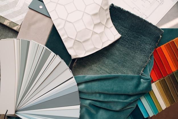 Koncepcja aranżacji wnętrz. próbka tekstur z palety tkanin.