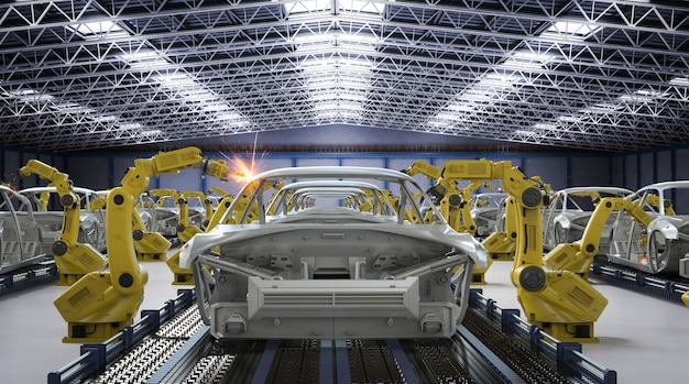 Koncepcja automatycznej fabryki samochodów z linią montażową robota renderującego 3d w fabryce samochodów