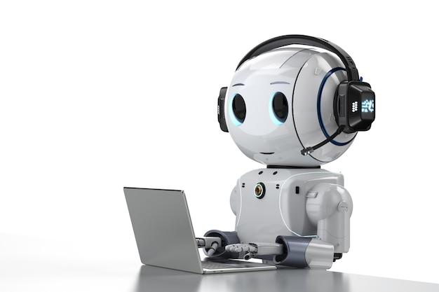 Koncepcja automatyzacji obsługi klienta z renderowaniem 3d uroczy robot pracujący z zestawem słuchawkowym i notebookiem