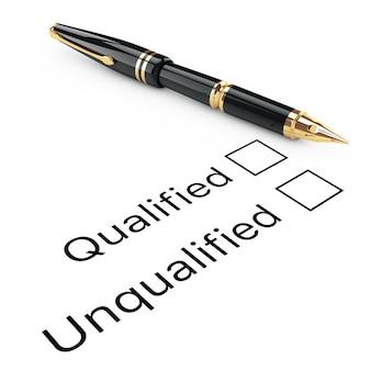Koncepcja badania. kwalifikowana lub niekwalifikowana lista kontrolna ze złotym wiecznym piórem do pisania na białym tle. renderowanie 3d